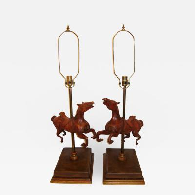 Pair of Carousel Horses Table Lamps