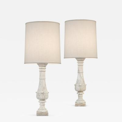 Pair of Carrara Marble Baluster Lamps