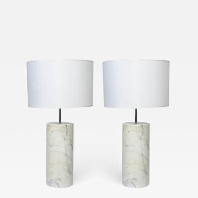 Pair of Carrara Marble Table Lamps in the Style of Angelo Mangiarotti
