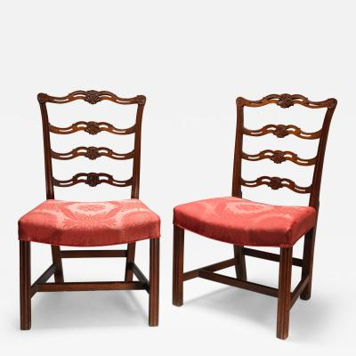 Pair of Carved Chippendale Ribbon or Pretzel Back Side Chairs