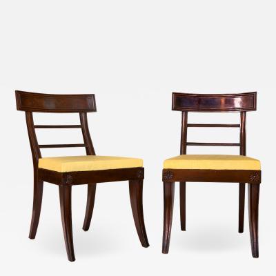 Pair of Carved Mahogany Klismos Chairs