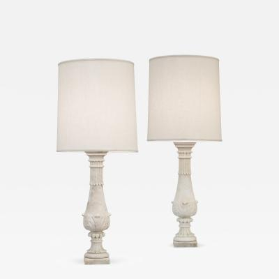 Pair of Carved Marble Baluster Lamps