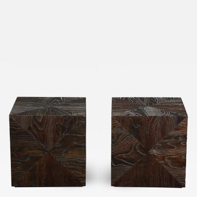 Pair of Carved Wood Cube Tables