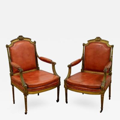 Pair of Carved and Gilded French Armchairs