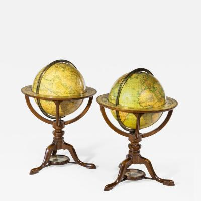 Pair of Carys Library Table Globes English 1800