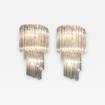 Pair of Cascading Crystal Glass Sconces by Camer