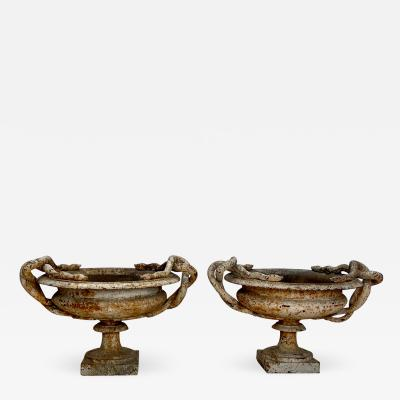 Pair of Cast Iron Garden Urns W Snake Handles England Circa Early 19th Century