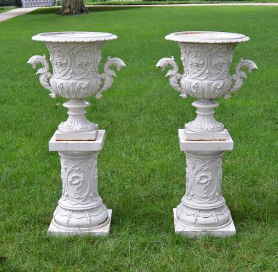 Pair of Cast iron Rococo Revival Style Urns on Pedestals