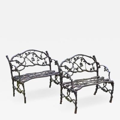 Pair of Cast iron Twig Seats
