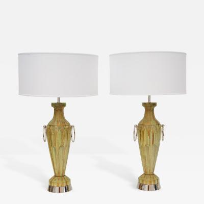 Pair of Ceramic Lamps with Nickel Hoops Circa 1950s