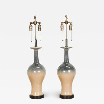 Pair of Ceramic Lamps with an Ombre Glazed Finish