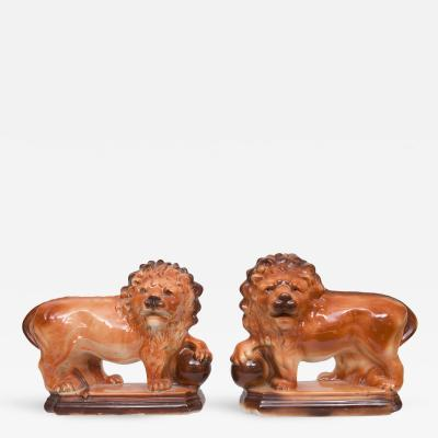 Pair of Ceramic and Glazed Lions by Lancaster Sons Hanley Ltd L S