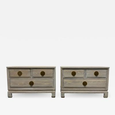 Pair of Cerused Oak Nightstands or End Tables by Davis Furniture Co