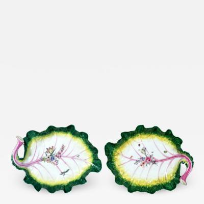 Pair of Chelsea Porcelain Trompe Loeil Leaf Dishes