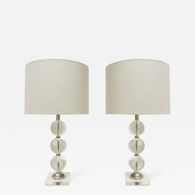 Pair of Chic Glass Ball Table Lamps 1940s