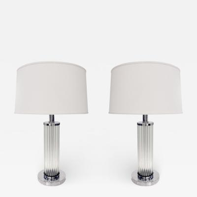 Pair of Chic Internally Illuminating Table Lamps with Glass Rods 1970s