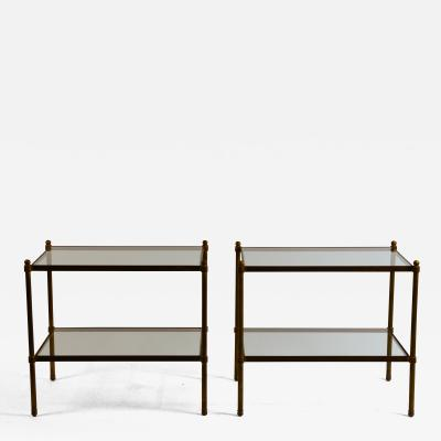 Pair of Chic Maison Bagu s style Patinated Brass and Glass Side Tables