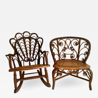 Pair of Childs Wicker Chair and Rocker