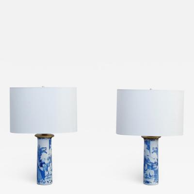 Pair of Chinese Blue and White Sleeve Vases Mounted as Lamps