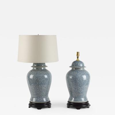Pair of Chinese Blue and White Temple Jar Lamps