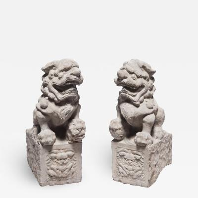 Pair of Chinese Courtyard Fu Dogs c 1800