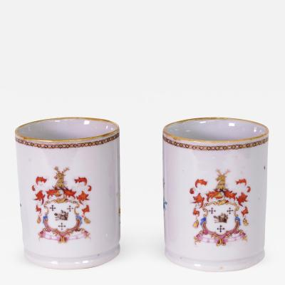 Pair of Chinese Export Armorial Small Mugs c 1750