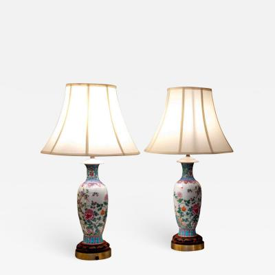 Pair of Chinese Famille Rose Lamps