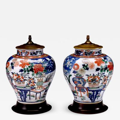 Pair of Chinese Famille Verte Porcelain Vases converted into Lamps