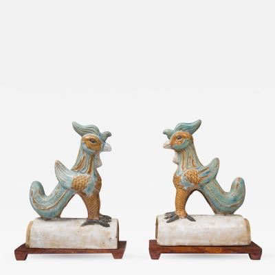 Pair of Chinese Glazed Terracotta Roof Tiles on Wood Stands