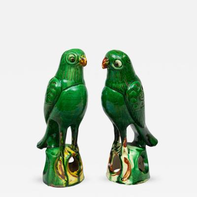 Pair of Chinese Green Parrots Circa 1880