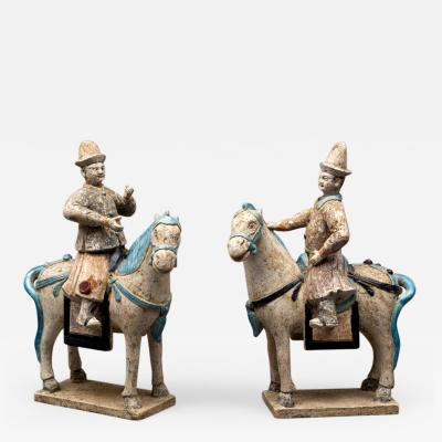 Pair of Chinese Ming Equestrian Figure