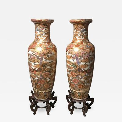 Pair of Chinese Palatial Vases Urns on Teak Pedestals Bird Decorated Signed Base