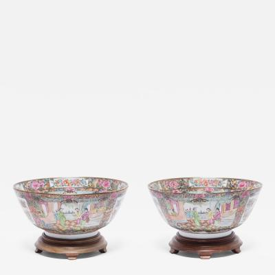Pair of Chinese Rose Medallion Punch Bowls