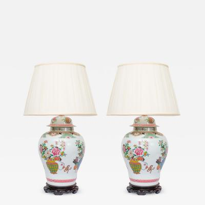 Pair of Chinese Urn Lamps on Rosewood Bases