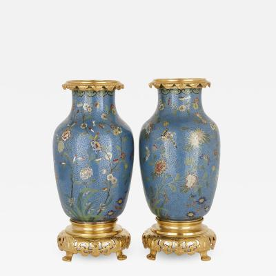 Pair of Chinese cloisonn enamel and French ormolu mounted vases