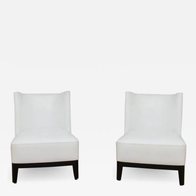 Pair of Christian Liagre Mandarin White Leather Chairs
