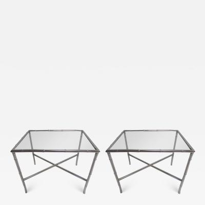Pair of Chrome Faux Bamboo Chinoisiere Style Side Tables Hollywood Regency