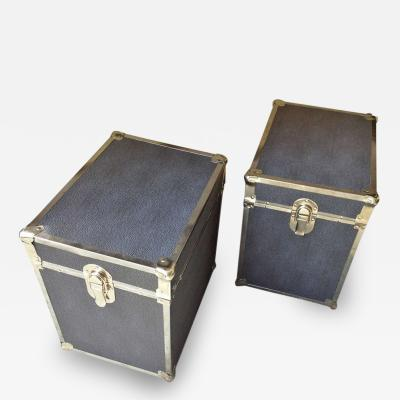 Pair of Chrome Faux Shagreen End Table Trunks