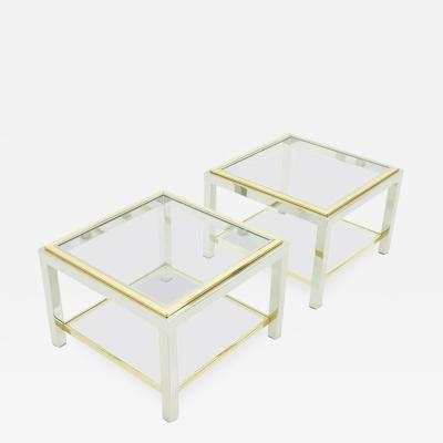 Pair of Chrome Glass and Brass Side Tables 1970s