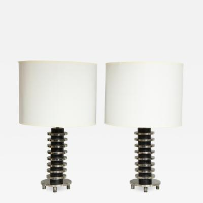 Pair of Chrome Lamps in the Art Deco Manner