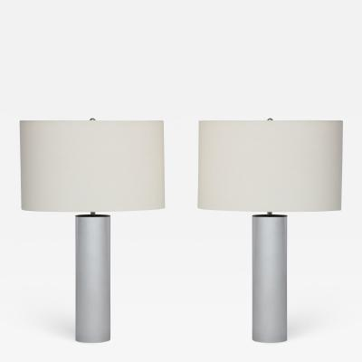 Pair of Chrome Lamps with oval shades