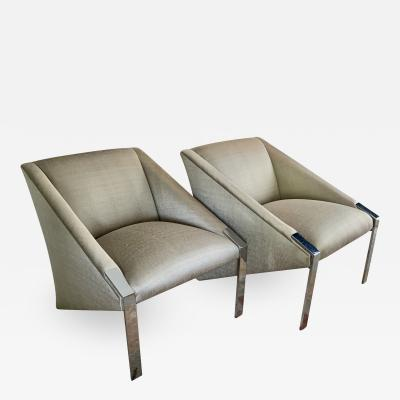 Pair of Chrome Lounge Chairs by Andree Putman