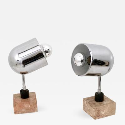 Pair of Chrome Plated Table Lamps with a Squared Marble Base Italy 1970s