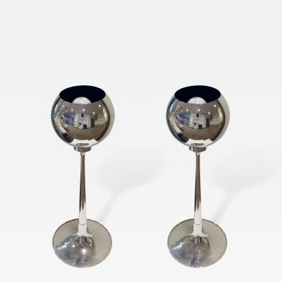 Pair of Chrome Table Lamps with Magnetized Spheres 1960s