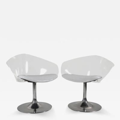 Pair of Chrome and Lucite Space Age Chairs