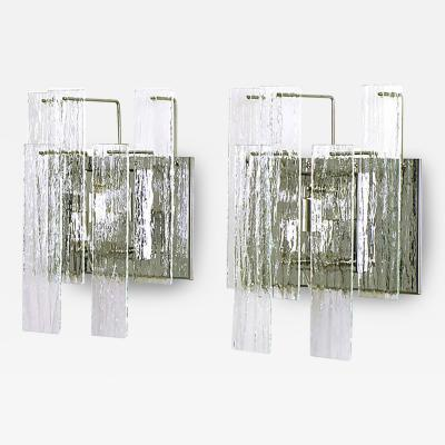 Pair of Chrome and Undulated Glass Three Light Sconces