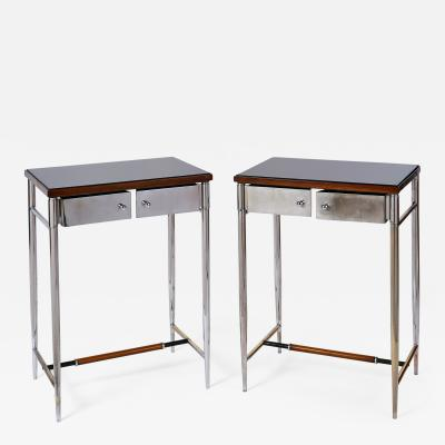 Pair of Chromed Side Tables Italy 1930s