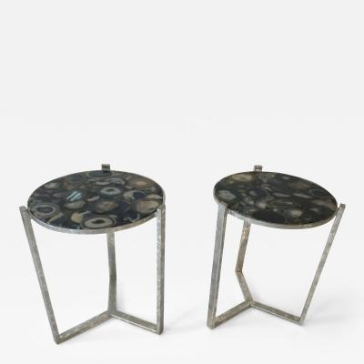 Pair of Circular Occasional Tables with Agate Tops
