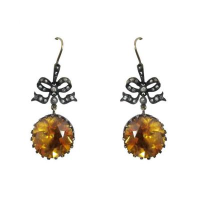 Pair of Citrine and Diamond Dangle Earrings
