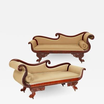 Pair of Classical American Recamiers Philadelphia 1825